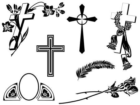 葬儀のお知らせ危機と花の要素  イラスト・ベクター素材
