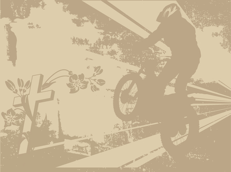 extremesport: Abstract illustration of motorcycle racer and the crosses Illustration