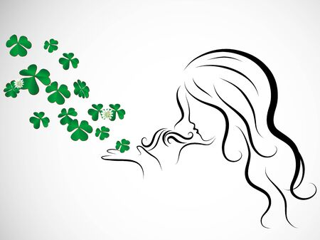 quarterfoil: Silhouette of beauty woman blowing to clover leaves