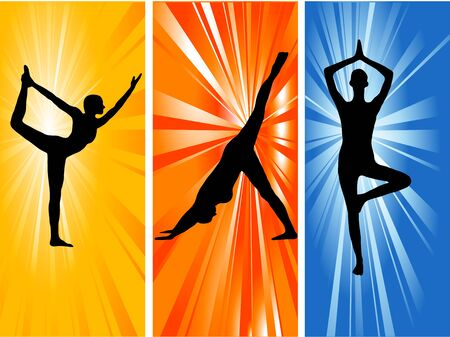 silhouette contour: Three silhouettes of woman practicing yoga position