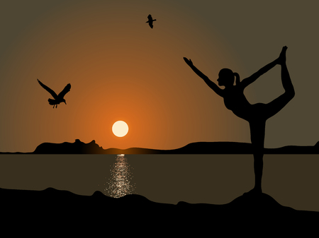 Silhouette of woman practicing yoga position in sunset
