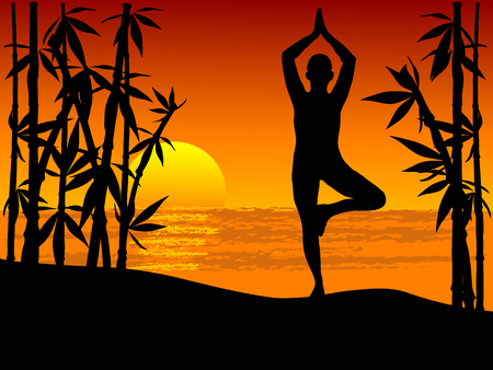 Silhouette of woman practicing yoga tree position in sunset Illustration