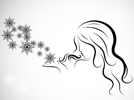 Silhouette of beauty woman blowing to snowflakes Illusztráció