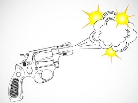 Revolver and speech bubble