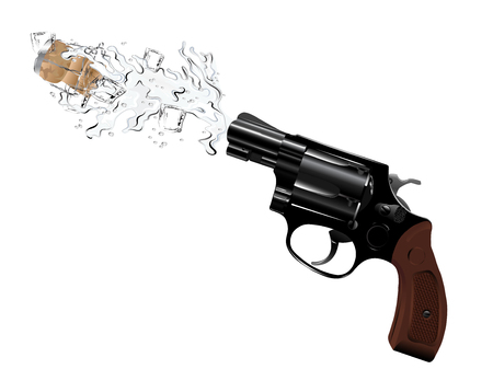 cold war: Revolver and champagne splash on white background Illustration