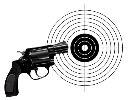 Revolver and target isolated on white background Illustration