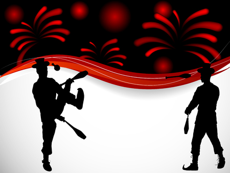 Silhouettes of two jugglers, red fireworks behind