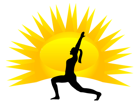 Silhouette of woman practicing yoga position