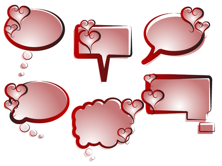 Collection of speech bubbles with red hearts