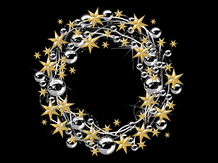 brilliancy: Christmas wreath with stars and glass balls