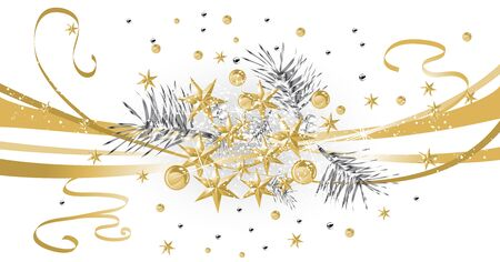 Gold Christmas background with silver needles Illustration