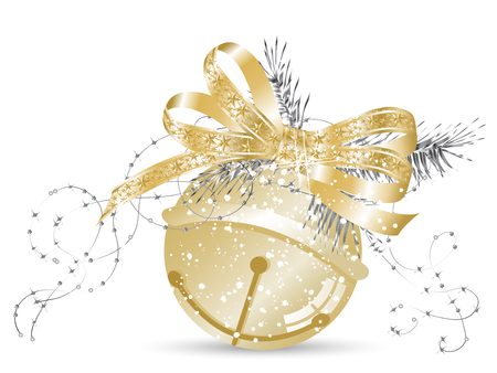 glittery: Golden jingle bell with bow and needles