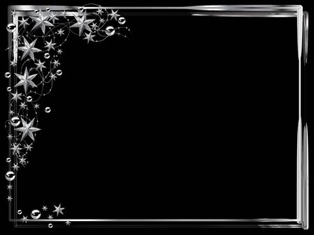 glittery: Christmas frame with silver stars and balls Illustration