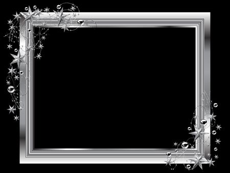 Christmas frame with silver stars and balls Illustration
