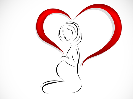 Silhouette of young pregnant woman in heart.