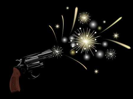 Revolver and fireworks on black background