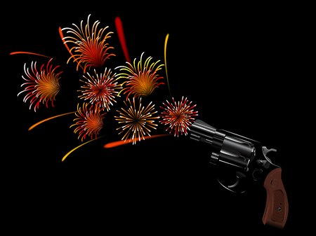 Revolver and red fireworks on black background