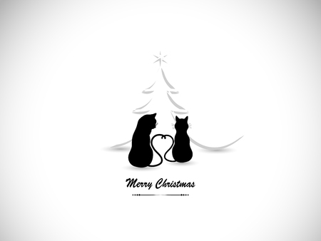 Silhouettes of two cats in love and Christmas tree.