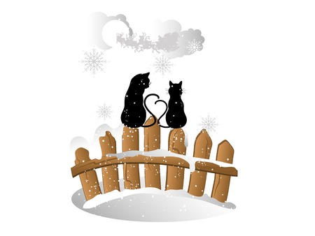 snowscene: Christmas card with cats on the fence