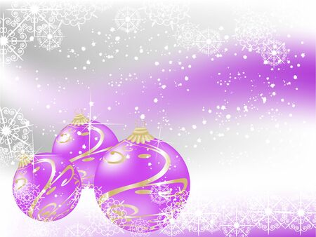 Violet christmas background with balls and snowflakes
