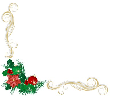 Abstract Christmas background with berries and ribbon