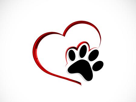 Zwarte kattenpoot in abstract rood hart Vector Illustratie