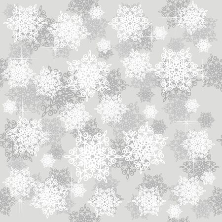 Seamless pattern with grey snowflakes