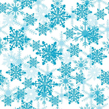 Seamless pattern with blue snowflakes.