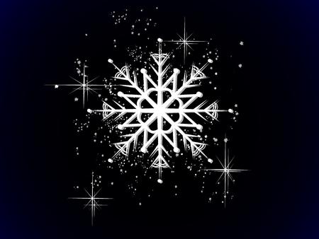 Luxury white snowflake on black illustration. Illustration