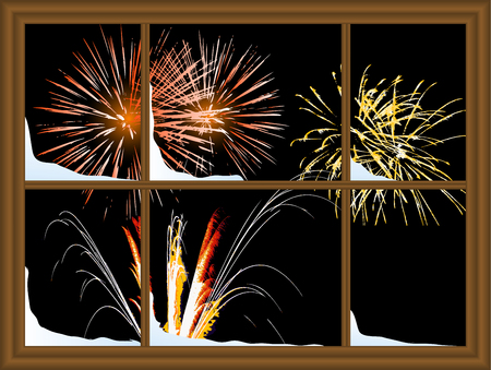 Color fireworks through the window