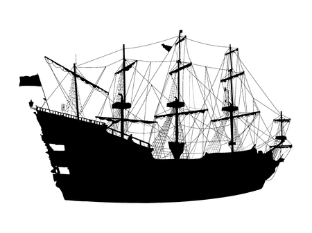 Black silhouette of the pirate ship isolated on white background Иллюстрация