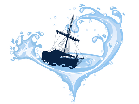 Silhouette of the pirate ship in dangerous whirpool