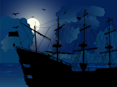 Black silhouette of the pirate ship in night 免版税图像 - 96223991