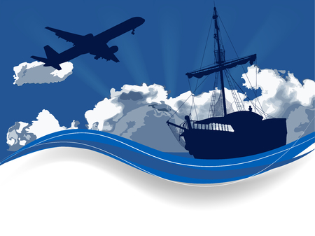 Blue silhouette of the pirate ship on sea level and airplane. Travel background.