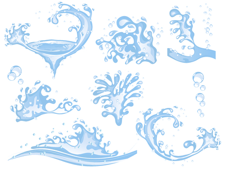 Collection of water splashes and bubbles vector illustration. Illustration