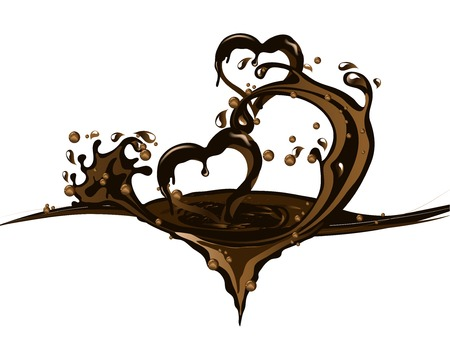 Two hearts in chocolate splash isolated on plain background. Illustration