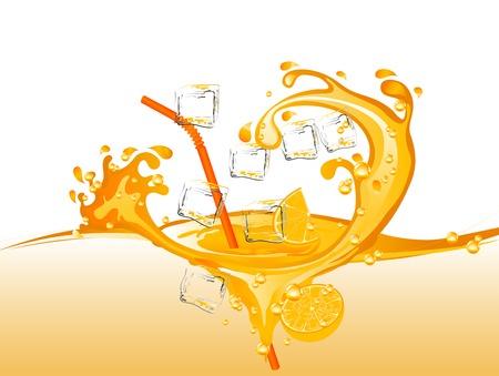 Oranges and orange juice splash isolated on plain background. Illustration