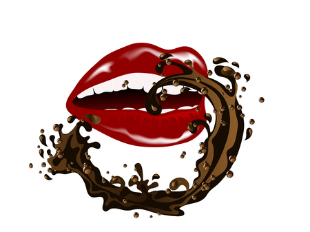 Beautiful red lips with chocolate splash