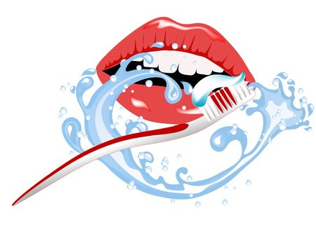 Woman brushing her teeth in cartoon illustration.