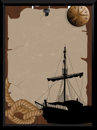 Old pirate signboard with compass and boat Vector illustration. Vettoriali