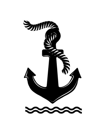 Black anchor isolated on white backdrop