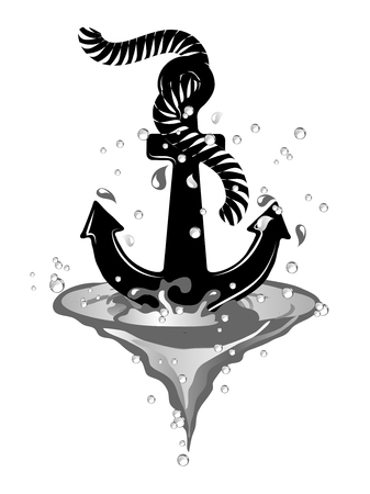 Black anchor in wave isolated on white background Illustration