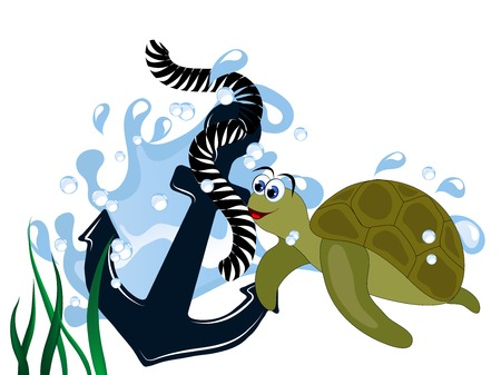Blue anchor in wave with turtle isolated on white background Ilustrace