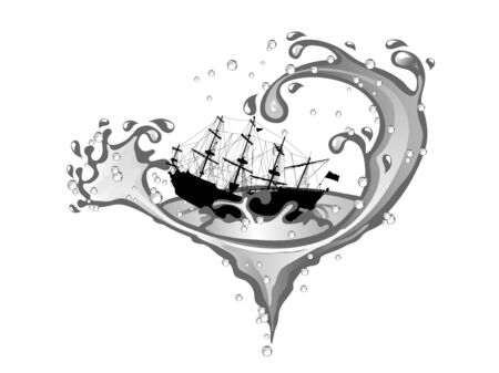 Pirate ship in whirpool isolated on white background