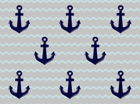 Blue stripped background with anchors Illustration
