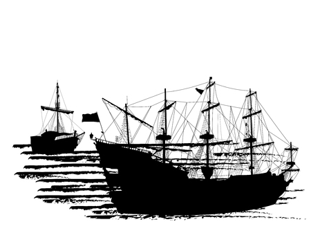 Black silhouette of two pirate ships isolated on white background