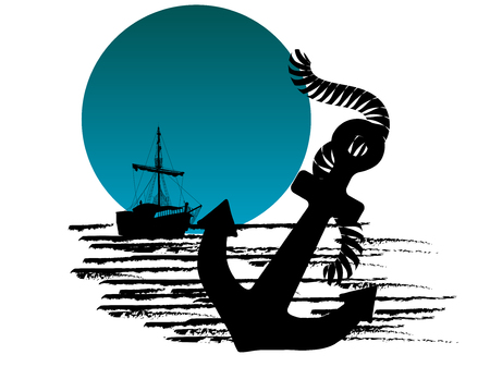 Black silhouette of the pirate ship and anchor against blue moon Illustration