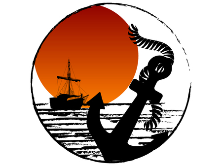 Black silhouette of the pirate ship and anchor against red sun
