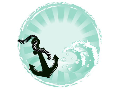 Green sea background with anchor