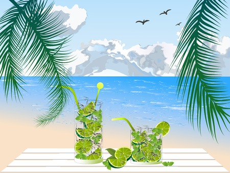 Two glasses with cocktail on the beach illustration. Illustration